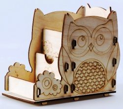 3D owl pen box file cdr and dxf free vector download for Laser cut Plasma file Decal