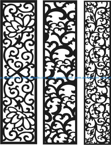 Vertical column pattern file cdr and dxf free vector download for Laser cut CNC