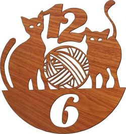 Wall clock featuring two cats free vector download for Laser cut plasma