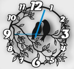 Wall clock two birds on a tree branch file cdr and dxf free vector download for Laser cut CNC