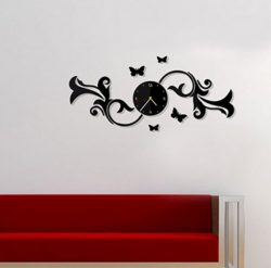 Wall clock with butterflies on a branch file cdr and dxf free vector download for Laser cut CNC