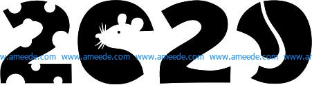 Welcome 2020 with the mouse file cdr and dxf free vector download for printers or laser engraving machines