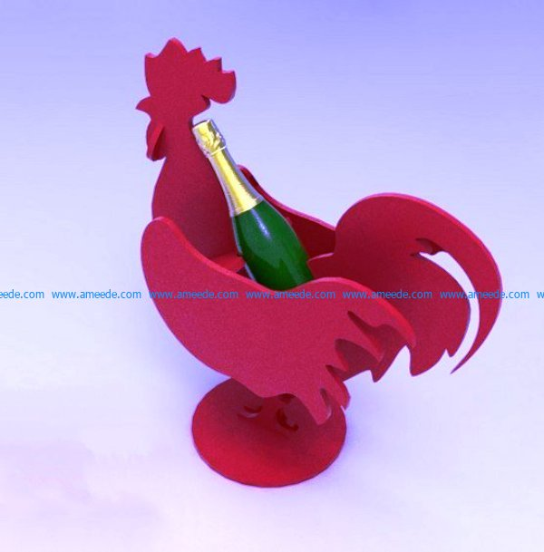 Wine bottle holder rooster file cdr and dxf free vector download for Laser cut CNC