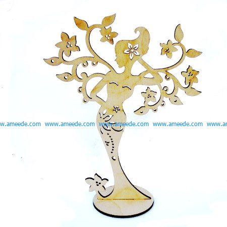 Woman Jewelry Stand Girl file cdr and dxf free vector download for Laser