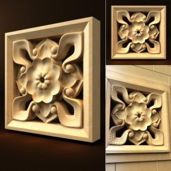 Wood carving flowers file FBX and max vector free 3d model download for CNC or 3d print