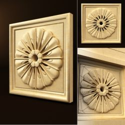 Woodcarving round flower pattern file FBX and max vector free 3d model download for CNC or 3d print