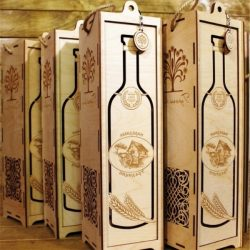 Wooden box for wine file cdr and dxf free vector download for CNC cut