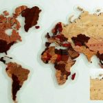 Wooden map of the whole world file cdr and dxf free vector download for laser engraving machines