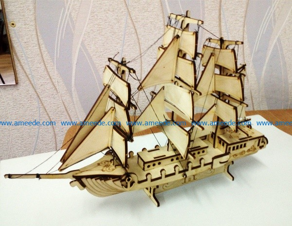 Wooden sailing boat file cdr and dxf free vector download for Laser cut CNC