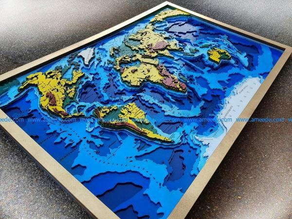 World map model design free vector download for Laser cut CNC