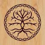 Young trees in circle shape file cdr and dxf free vector download for print or laser engraving machines