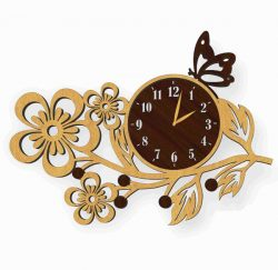 a butterfly perched on a watch file cdr and dxf free vector download for Laser cut plasma