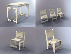 assembled wooden furniture and tables file cdr and dxf free vector download for Laser cut CNC