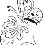 butterfly and chrysanthemum flower free vector download for print or laser engraving machines