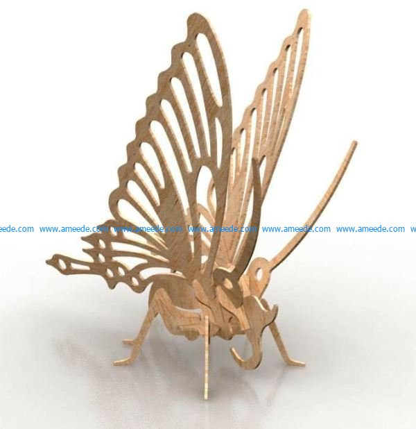 butterfly assembly model file cdr and dxf free vector download for Laser cut CNC