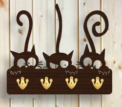 cat with a hanging hook file cdr and dxf free vector download for Laser cut CNC