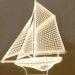 3d led light shaped sailboat file cdr and dxf free vector download for printers or laser engraving machines