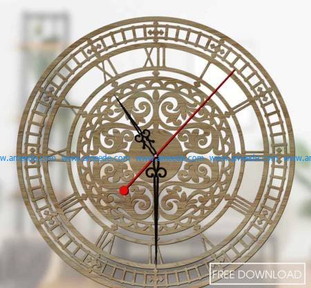 clock roman pattern wall file cdr and dxf free vector download for Laser cut CNC