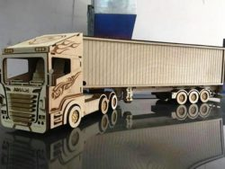 container truck file cdr and dxf free vector download for Laser cut CNC