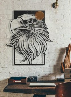 decorate the eagle's head in the room free vector download for Laser cut CNC
