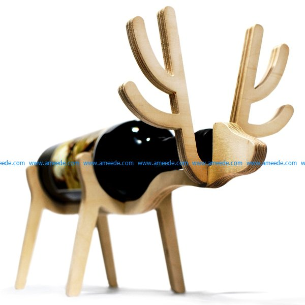 deer wine rack file cdr and dxf free vector download for Laser cut CNC