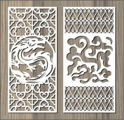 dragon and cloud pattern free vector download for Laser cut CNC
