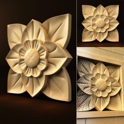 eight petals flower file FBX and max vector free 3d model download for CNC or 3d print