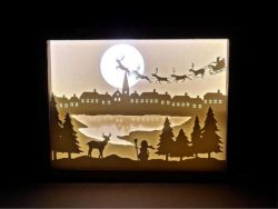 electric paintings of old man snow and reindeer herd   free vector download for Laser cut CNC