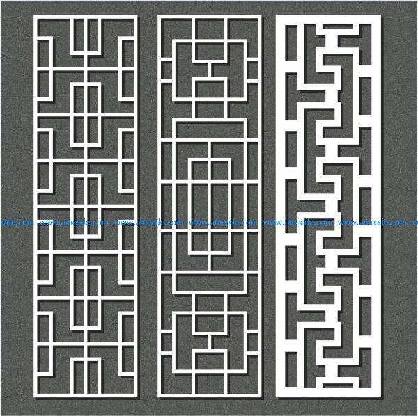 frontal rectangular vertical column file cdr and dxf free vector download for Laser cut CNC