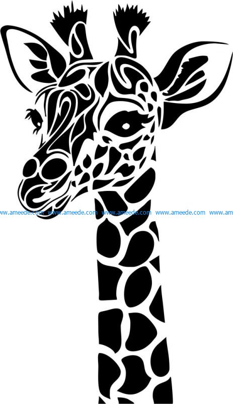 giraffe head file cdr and dxf free vector download for print or laser engraving machines