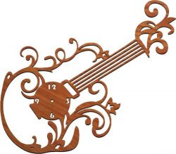 guitar clock file cdr and dxf free vector download for Laser cut plasma