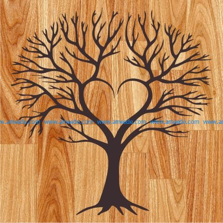 heart tree art tree file cdr and dxf free vector download for print or laser engraving machines