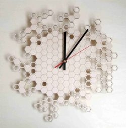 honeycomb wall clock file cdr and dxf free vector download for Laser cut CNC