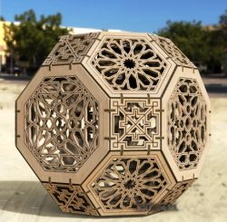 Hexagon sphere lamp file cdr and dxf free vector download for Laser cut CNC