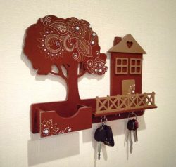 key hanger shaped house and tree free vector download for Laser cut CNC