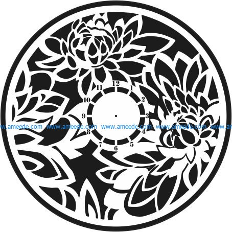 lotus clock wall file cdr and dxf free vector download for Laser cut plasma