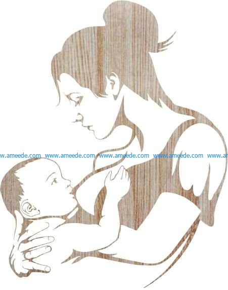 mother and newborn baby file cdr and dxf free vector download for Laser