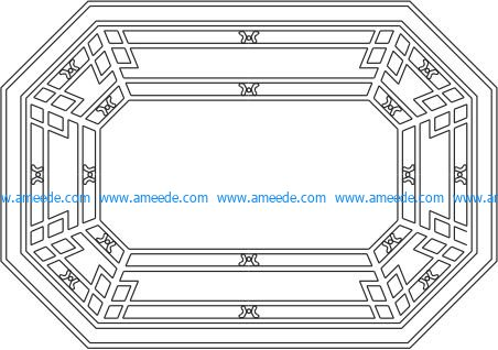 octagonal wooden desk pattern file cdr and dxf free vector download for Laser cut CNC
