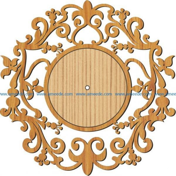 pattern wall clock file cdr and dxf free vector download for Laser cut plasma