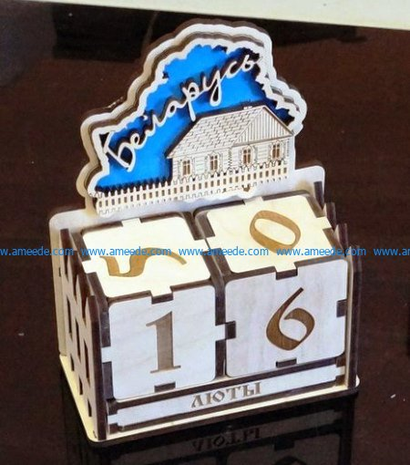 perpetual calendar file cdr and dxf free vector download for Laser cut