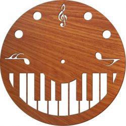 piano wall clock file cdr and dxf free vector download for Laser cut plasma
