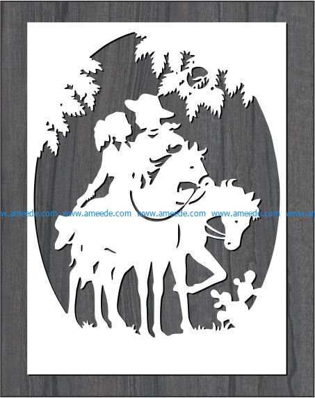 picture on horseback file cdr and dxf free vector download for print or laser engraving machines