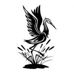 red-headed crane file cdr and dxf free vector download for print or laser engraving machines