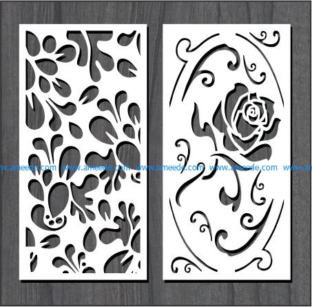 roses in leaf dust file cdr and dxf free vector download for Laser cut CNC