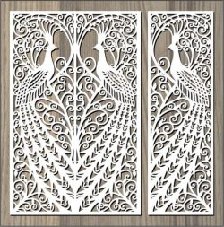 screened peacock free vector download for Laser cut CNC