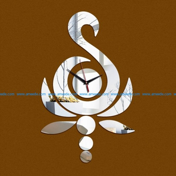 swan wall clock file cdr and dxf free vector download for Laser cut CNC