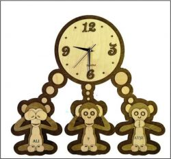 the wall clock shows three monkeys file cdr and dxf free vector download for Laser cut CNC