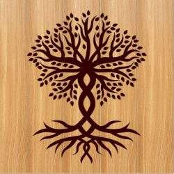 two-trunk tree file cdr and dxf free vector download for print or laser engraving machines