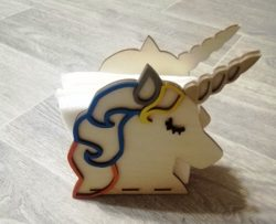 unicorn holding napkin file cdr and dxf free vector download for Laser cut CNC