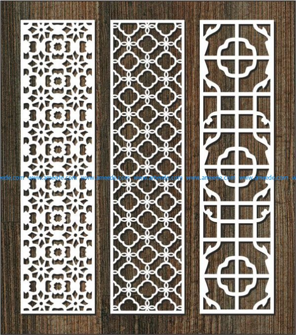 vertical column pattern partition file cdr and dxf free vector download for Laser cut CNC